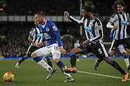 Georginio Wijnaldum (Newcastle United) and James McCarthy (Everton) during the Barclays Premier League match between Everton and Newcastle United at Goodison Park, Liverpool, England on 3 February 2016. Photo by Mark P Doherty.