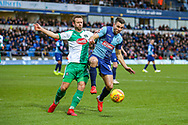 Wycombe Wanderers midfielder Matthew Bloomfield(10) battles with Plymouth Argyle midfielder David Fox (8) during the EFL Sky Bet League 1 match between Wycombe Wanderers and Plymouth Argyle at Adams Park, High Wycombe, England on 26 January 2019.