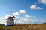 Portugal, Algarve, A traditional windmill painted blue and white