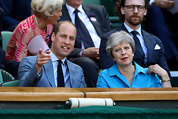 The Duke of Cambridge and Theresa May in the royal box on centre court on day thirteen of the Wimbledon Championships at the All England Lawn Tennis and Croquet Club, Wimbledon.