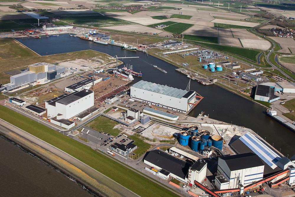 Nederland, Friesland, Harlingen, 16-04-2012; zicht op de Industriehaven  met scheepswerf...Shipyard and industrial harbour of the city of Harlingen (North Netherlands).luchtfoto (toeslag), aerial photo (additional fee required);.copyright foto/photo Siebe Swart