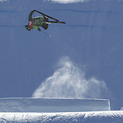 Cyrill Hunziker, Switzerland,  in action in the Men's Slopestyle Finals during The North Face Freeski Open at Snow Park, Wanaka, New Zealand, 2nd September 2011. Photo Tim Clayton...