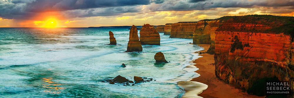 An awesome glowing sunset over Bass Strait and the Twelve Apostles features in this quality high resolution print.<br /> <br /> Code: HAVS0007<br /> <br /> Limited Edition of 125 Prints