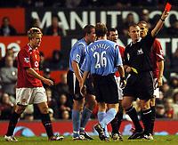 Photo: Javier Garcia/Digitalsport<br /> 07/11/2004 Manchester United v Manchester City, FA Barclays Premiership, Old Trafford<br /> Graham Poll sends off Alan Smith