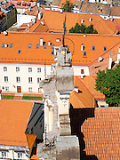 High-angle view of the Vilnius University Cathedral from the belltower, in Senamiestyje/Old Town, Vilnius, Lithuania