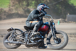 A vintage Harley-Davidson Flathead digs into the dirt for Brat Style's flat track racing at West Point Offroad Village. Kawagoe, Saitama. Japan. Wednesday December 6, 2017. Photography ©2017 Michael Lichter.