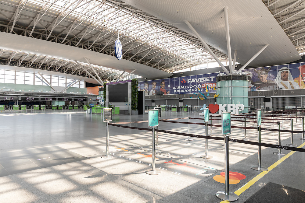 The image was taken on May 4, 2020.<br /> It shows departure hall of Boryspil Airport empty during Covid-19 lockdown.<br /> All airlines checkin lines are closed, and the whole airport is empty as well.