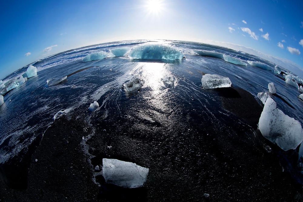 Black Beach in Jokulsarloon, Iceland on March 13, 2014.<br /> <br /> copyright: Christina Czybik