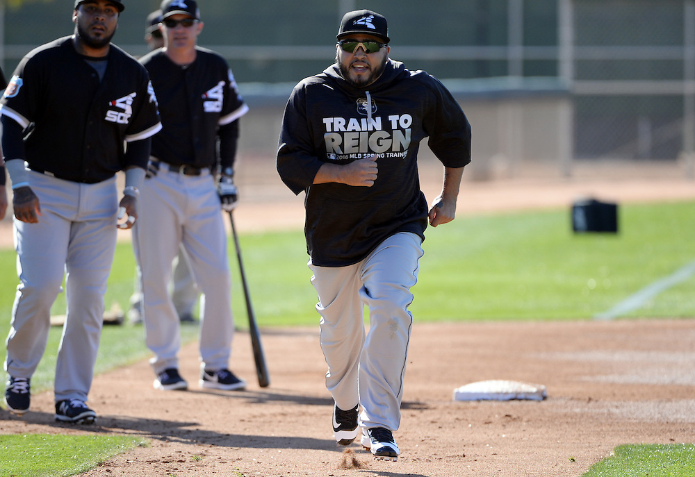GLENDALE, ARIZONA - FEBRUARY 24:  Dioner Navarro #27 of the Chicago White Sox runs the bases during spring training workouts on February 24, 2015 at Camelback Ranch in Glendale Arizona.  (Photo by Ron Vesely)    Subject:  Dioner Navarro