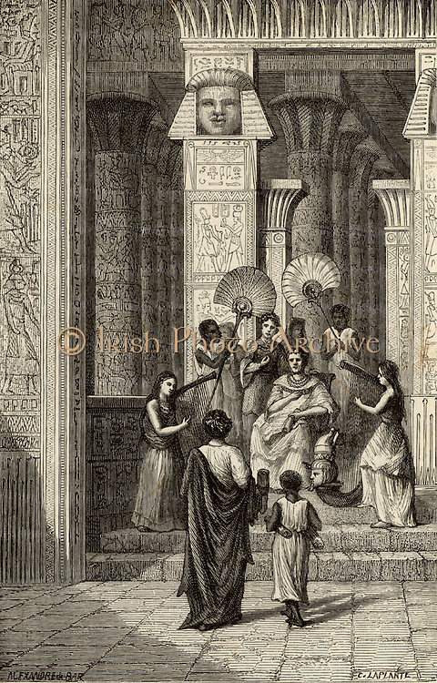Euclid (3rd century BC) Ancient Greek mathematician who taught at the Alexandrian school, presenting his 'Elements of Geometry' to Ptolemy I, Soter, king of Egypt. Engraving from 'Vies des Savants Illustres' by Louis Figuier (Paris, 1866).