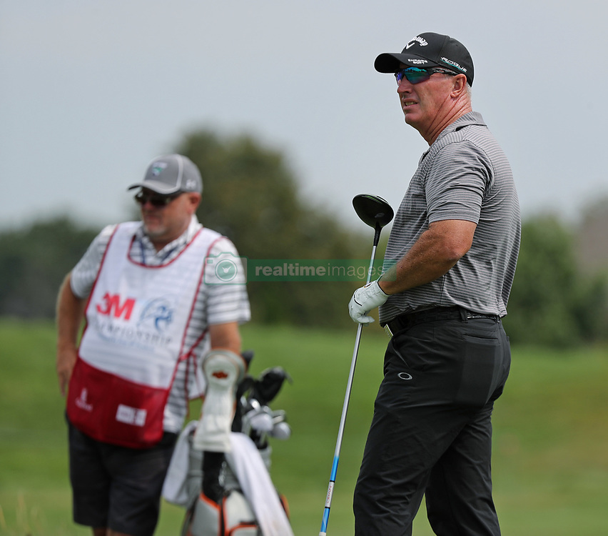 August 3, 2018 - Blaine, MN, USA - Peter Lonard watches his drive on the 1st tee during the opening round of the Champions Tour's 3M Championship at the TPC in Blaine, Minn., on Friday, Aug. 3, 2018. (Credit Image: © Shari L. Gross/TNS via ZUMA Wire)