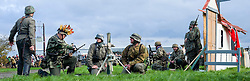Re-enactors portrayiing panzer grenadiers prepare a replica 81mm mortar during a battle battle re-enactment in on Pickering Showground<br /> <br /> 17/18 October 2015<br />  Image © Paul David Drabble <br />  www.pauldaviddrabble.co.uk