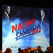 A banner featuring President Barack Obama and Republican Presidential Nominee Mitt Romney, is seen prior to the NALEO (National Association of Latino Elected and Appointed Officials) conference at the Disney Contemporary Resort Convention Center in Orlando, Fla. on Thursday, June 21, 2012.(AP Photo/Alex Menendez) Presidential hopeful Mitt Romney speaks to members of NALEO in Orlando, Florida.