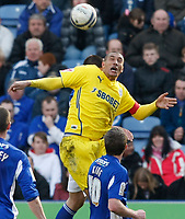 Photo: Steve Bond/Richard Lane Photography. Leicester City v Cardiff City. Coca Cola Championship. 13/03/2010. Jay Bothroyd tries to control a high ball