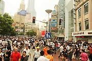 China, Shanghai crowds shopping at Nanjing Street