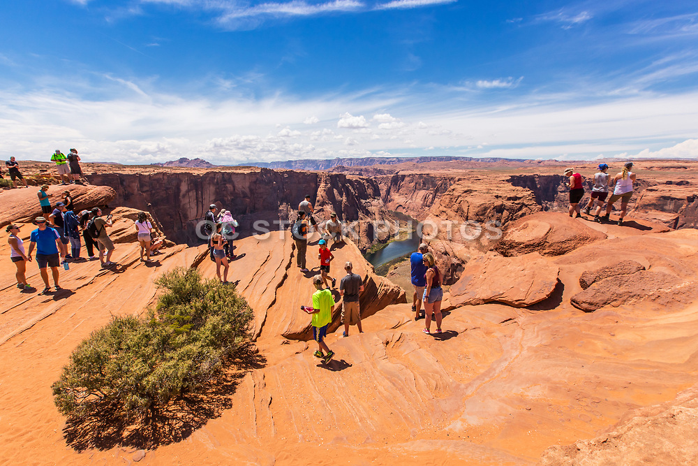 Tourists at Horseshoe Bend Overlook Arizona