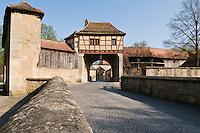 Cobblestone road and wall, Rothenburg ob der Tauber, Franconia, Bavaria, Germany