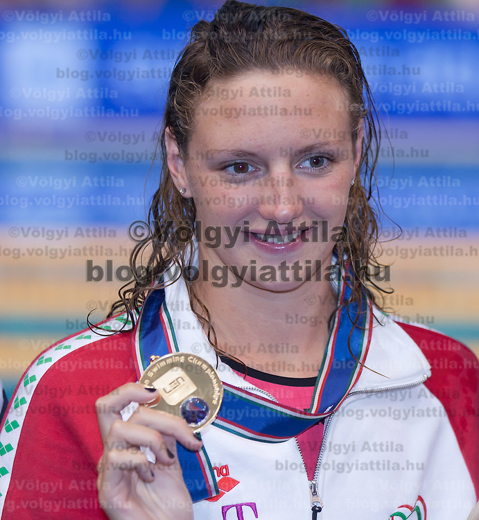 Katinka Hosszu of Hungary celebrates her victory during the Women's 400m Individual Medley final of the 31th European Swimming Championships in Debrecen, Hungary on May 21, 2012. ATTILA VOLGYI