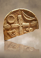 The Viking Raiders Stone with a central cross, a sun and a moon, two hands and two figures praying. Anglo Saxon probably carved as a memorial of the first Viking Raind on Lindisfarne Island in 793. Lindisfarne Abbey Museum, Northumbria, England .<br /> <br /> Visit our MEDIEVAL ART PHOTO COLLECTIONS for more   photos  to download or buy as prints https://funkystock.photoshelter.com/gallery-collection/Medieval-Middle-Ages-Art-Artefacts-Antiquities-Pictures-Images-of/C0000YpKXiAHnG2k