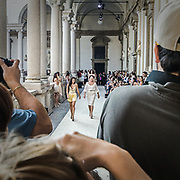 Secondo giorno della settimana della moda 2010 a Milano.<br /> Sfilata della stilista Beccaria persso l'accademia di Brera; le stiliste Beccaria madre e figlia.<br /> <br /> Second day of the Milan fashion week.<br /> The fashion show of the Beccaria stylist in Brera Academy; the two stylists Beccaria, mother and daughter.