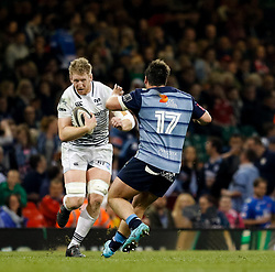 Ospreys' Bradley Davies lines up Cardiff Blues' Bradley Thyer<br /> <br /> Photographer Simon King/Replay Images<br /> <br /> Guinness PRO14 Round 21 - Cardiff Blues v Ospreys - Saturday 28th April 2018 - Principality Stadium - Cardiff<br /> <br /> World Copyright © Replay Images . All rights reserved. info@replayimages.co.uk - http://replayimages.co.uk