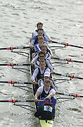 London, Great Britain, Queens Tower/Imperial BC. Steve TRAPMORE, Dave GILLARD, Luka Grubor, Kieran WEST. 2002 Head of the River Race Championship Course Chiswick [Mortlake] to Putney. River Thames. Saturday, [Mandatory Credit. Peter SPURRIER/Intersport Images. 20020323. Head of the River Race, London. UK.