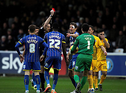 Paul Robinson of AFC Wimbledon is sent off after bringing down Ellis Harrison of Bristol Rovers - Mandatory byline: Robbie Stephenson/JMP - 07966 386802 - 26/12/2015 - FOOTBALL - Kingsmeadow Stadium - Wimbledon, England - AFC Wimbledon v Bristol Rovers - Sky Bet League Two
