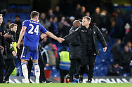 Eddie Howe, the Bournemouth manager shakes Gary Cahill's  of Chelsea hand after the final whistle. Barclays Premier league match, Chelsea v AFC Bournemouth at Stamford Bridge in London on Saturday 5th December 2015.<br /> pic by John Patrick Fletcher, Andrew Orchard sports photography.