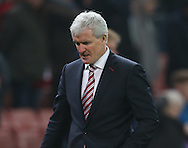 Mark Hughes manager of Stoke City walks off at the end of the match dejected during the English Premier League match at the Bet 365 Stadium, Stoke on Trent. Picture date: December 17th, 2016. Pic Simon Bellis/Sportimage