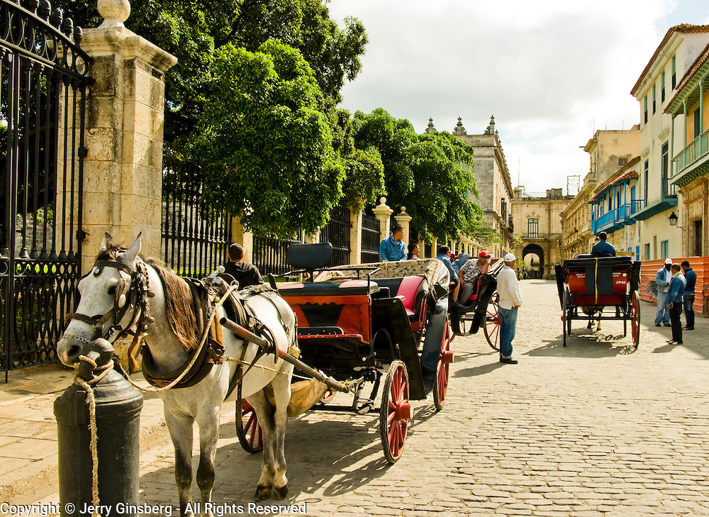 Horse drawn carriage in Old Havana, Habana Vieja, Cuba.