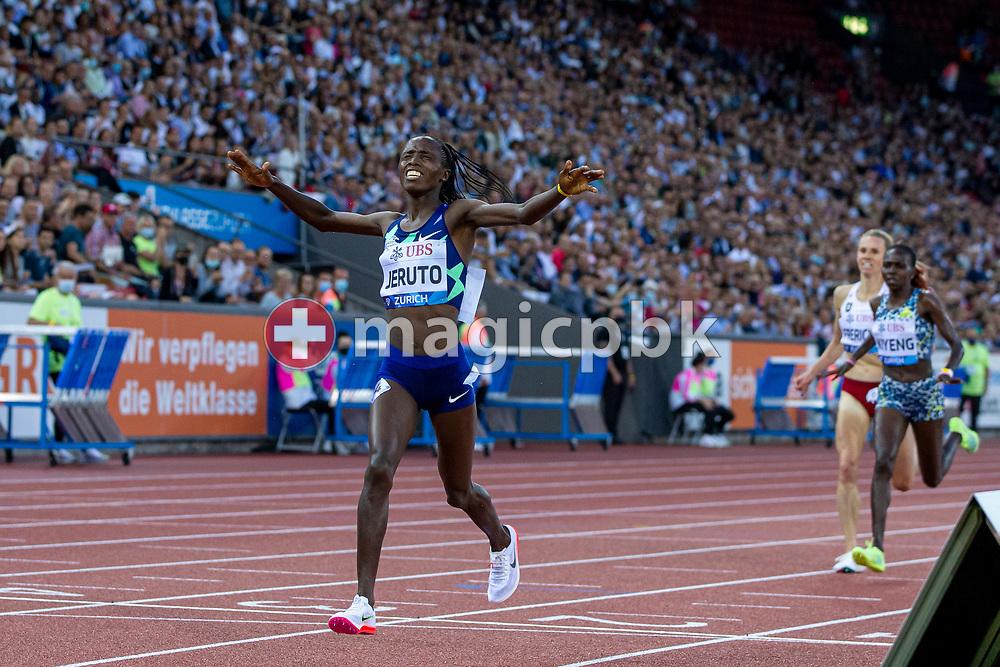 Norah Jeruto of Kenya celebrates after winning the 3000m Steeplechase Women during the Iaaf Diamond League meeting (Weltklasse Zuerich) at the Letzigrund Stadium in Zurich, Switzerland, Thursday, Sept. 9, 2021. (Photo by Patrick B. Kraemer / MAGICPBK)