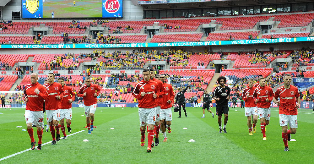 Fleetwood Town players during the pre-match warm-up <br /> <br /> Photographer Ian Cook/CameraSport<br /> <br /> Football - The Football League Sky Bet League Two Play-Off Final - Burton Albion v Fleetwood Town - Mondat 26th May-2014 - Wembley Stadium - London<br /> <br /> © CameraSport - 43 Linden Ave. Countesthorpe. Leicester. England. LE8 5PG - Tel: +44 (0) 116 277 4147 - admin@camerasport.com - www.camerasport.com