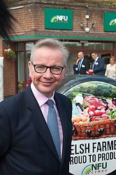 © Licensed to London News Pictures. 24/07/2017. Llanelwedd, UK. Outside the NFU offices. Michael Gove MP. Secretary of State for Environment, Food and Rural Affairs visits the Royal Welsh Show.The Royal Welsh Agricultural Show is hailed as the largest & most prestigious event of its kind in Europe. In excess of 200,000 visitors are expected this week over the four day show period. The first ever show was at Aberystwyth in 1904 and attracted 442 livestock entries. Photo credit: Graham M. Lawrence/LNP