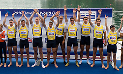 First placed Great Britain's Men's Eight team: Nathaniel Reilly - O'Donnell, James Clarke, James Orme, James Foad, Mohamed Sbihi, Gregory Searle, Peter Reed, Daniel Ritchie and Phelan Hill during the medal ceremony in finish area during Final A at Rowing World Cup  on May 30, 2010, at Bled's lake in Zaka, Bled, Slovenia. (Photo by Vid Ponikvar / Sportida)