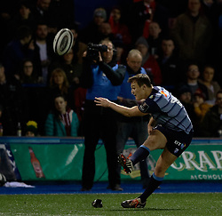 Cardiff Blues' Jarrod Evans converts<br /> <br /> Photographer Simon King/Replay Images<br /> <br /> Guinness PRO14 Round 15 - Cardiff Blues v Munster - Saturday 17th February 2018 - Cardiff Arms Park - Cardiff<br /> <br /> World Copyright © Replay Images . All rights reserved. info@replayimages.co.uk - http://replayimages.co.uk