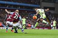 Raheem Sterling of Man city ® has a shot at goal blocked by Alan Hutton of Aston Villa. Barclays Premier league match, Aston Villa v Manchester city at Villa Park in Birmingham, Midlands  on Sunday 8th November 2015.<br /> pic by  Andrew Orchard, Andrew Orchard sports photography.
