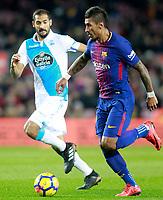 FC Barcelona's Paulinho (r) and Deportivo de la Coruna's Celso Borges during La Liga match. December 17,2016. (ALTERPHOTOS/Acero)