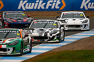 Tom Hibbert(GBR) Privateer in amongst a pack during the Millers Oil Ginetta GT4 Supercup Championship at Knockhill Racing Circuit, Dunfermline, Scotland on 15 September 2019.