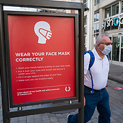 Public safety signs are seen on the strip in Las Vegas, Nevada on Saturday, October 17, 2020. (Alex Menendez via AP)