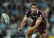 May 25th 2011: Cameron Smith of the Maroons passes the ball during game 1 of the 2011 State of Origin series at Suncorp Stadium in Brisbane, Australia on May 25, 2011. Photo by Matt Roberts/mattrIMAGES.com.au / QRL