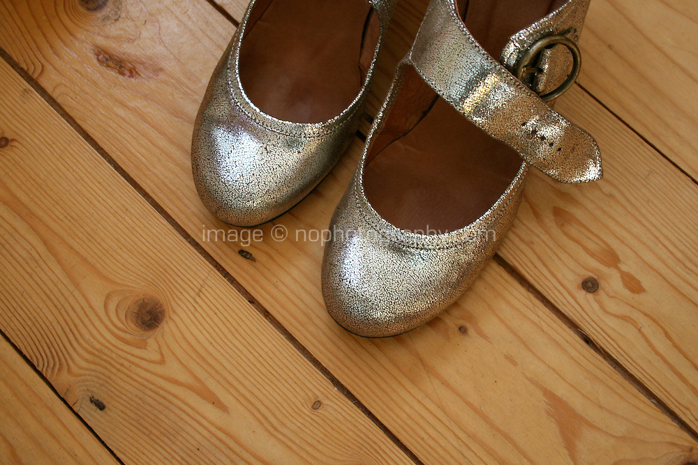 Silver shoes on wooden floor boards