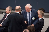 12 FEB 2017, BERLIN/GERMANY:<br /> Martin Schulz (L), SPD, Kanzlerkandidat, und Oskar Lafonatine (R), Die Linke, Fraktionsvorsitzender im saarlaendischen Landtag, im Gespraech, 16. Bundesversammlung zur Wahl des Bundespraesidenten, Reichstagsgebaeude, Deutscher Bundestag<br /> IMAGE: 20170212-02-072<br /> KEYWORDS; Bundespraesidentenwahl, Bundespräsidetenwahl, Gespäch