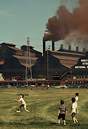 The Great Lakes Steel plant South of Pittsburgh PA on Ju;ly 1970.<br />Note: Howard Chapnick the owner of Black Star was very concerned about our environment way before many. I thought that Pittsburgh was a good place to go and drove there . I remember seeing this and knew that I had made a good choice.  Giff Hampshire at EPA was the picture editor and purtchased mkany of Black Star's photographs.  I think some were from this trip.  Photo by Dennis Brack