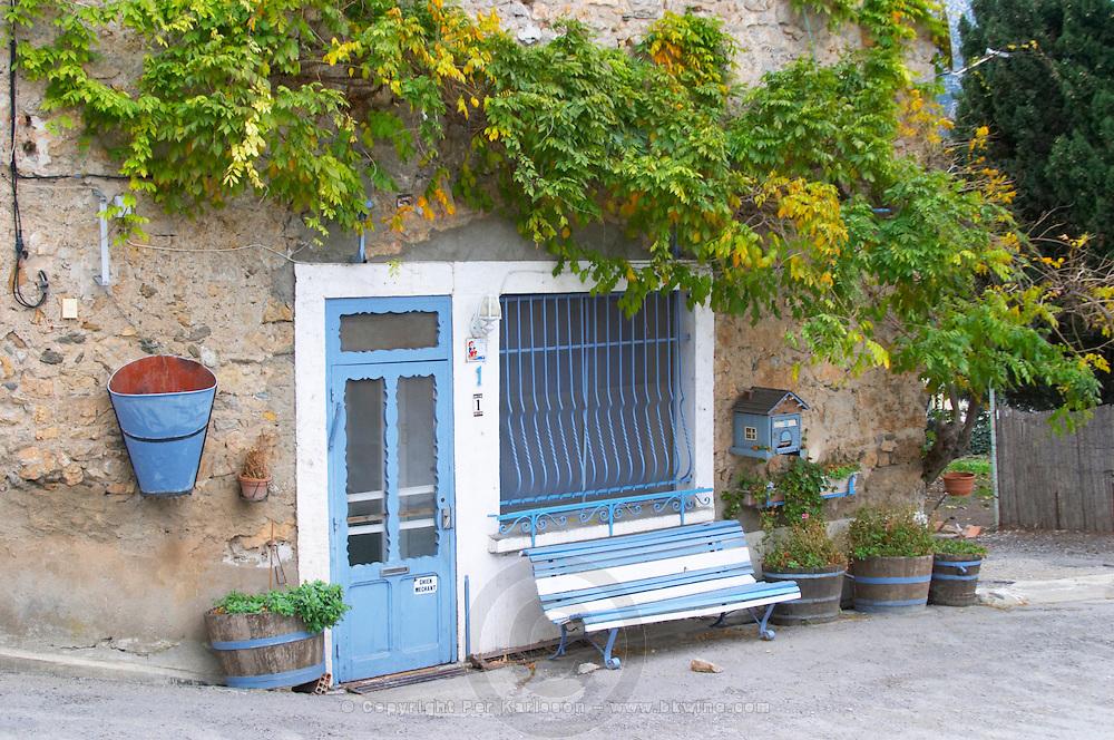 Embres et Castelmaure Cave Cooperative co-operative. Les Corbieres. Languedoc. A door. Window. France. Europe.