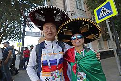 June 21, 2018 - EUM20180621DEP08.JPG.ROSTOV, Rusia.- Soccer-Futbol-Mundial.- 21 de junio 2018.- Aficionados de Corea y México ya se encuentran en esta ciudad en donde se llevará a cabo el próximo sábado el partido entre ambas selecciones. Foto: Agencia EL UNIVERSALLuis CortésRCC. (Credit Image: © El Universal via ZUMA Wire)