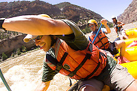 Whitewater rafting on the Yampa River / Green River, which flows through Dinosaur National Monument in northeastern Utah. The Yampa flows into the Green at Echo Park.