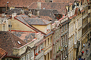 Tile rooftops in Prague, Czech Republic.