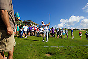 January 09 2016: Brooks Koepka hits his third shot on eighteen from the gallery during the Third Round of the Hyundai Tournament of Champions at Kapalua Plantation Course on Maui, HI. (Photo by Aric Becker)