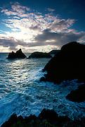 Kynance Cove at sunset, Cornwall, England