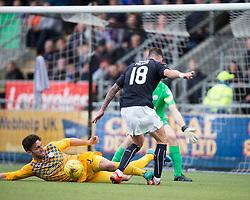 Morton's Ricki Lamie tackles Falkirk's Lee Miller. <br /> half time : Falkirk 0 v 0 Morton, Scottish Championship game  played 1/5/2016 at The Falkirk Stadium.